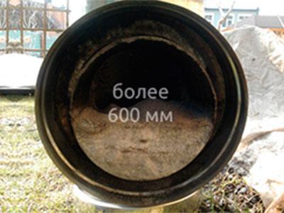 Аварийное устранение засора труб диаметром более 600 мм