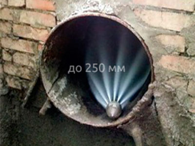 Плановая прочистка канализации диаметром до 250 мм